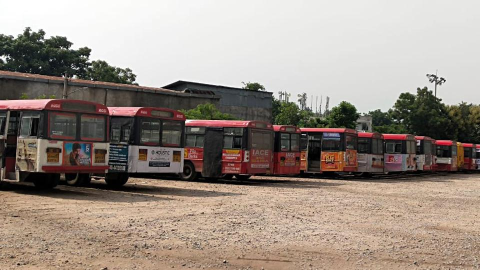 Buses stand at as TSRTC employees are on an indefinite strike demanding fulfilment of various demands including RTC merger with the Government, in Hyderabad on Saturday. (ANI Photo)