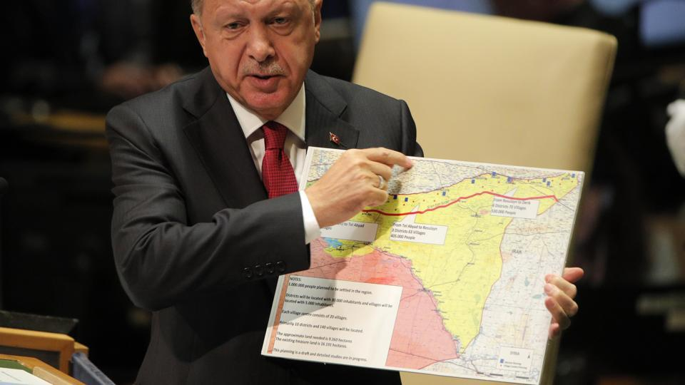 Erdogan has issued a new warning to Syria targeted mainly towards the Kurdish forces. In this file picture, Turkey's President Recep Tayyip Erdogan addresses the 74th session of the United Nations General Assembly at U.N. headquarters in New York City, New York, U.S.