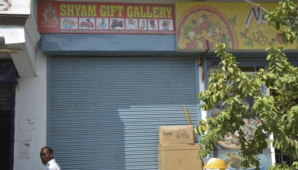 The shop  where he was shot in Chiranjeev Vihar  on Monday.