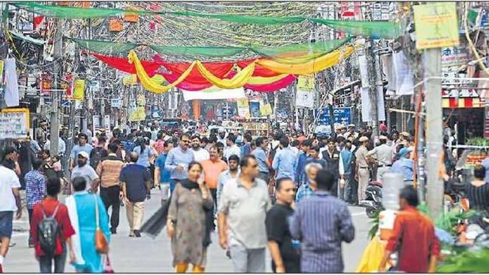The Lal Quarter road in Krishna Nagar market during the pilot run on Monday.