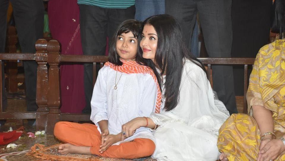Aishwarya Rai and Aaradhya Bachchan attend Dussehra puja in Mumbai.