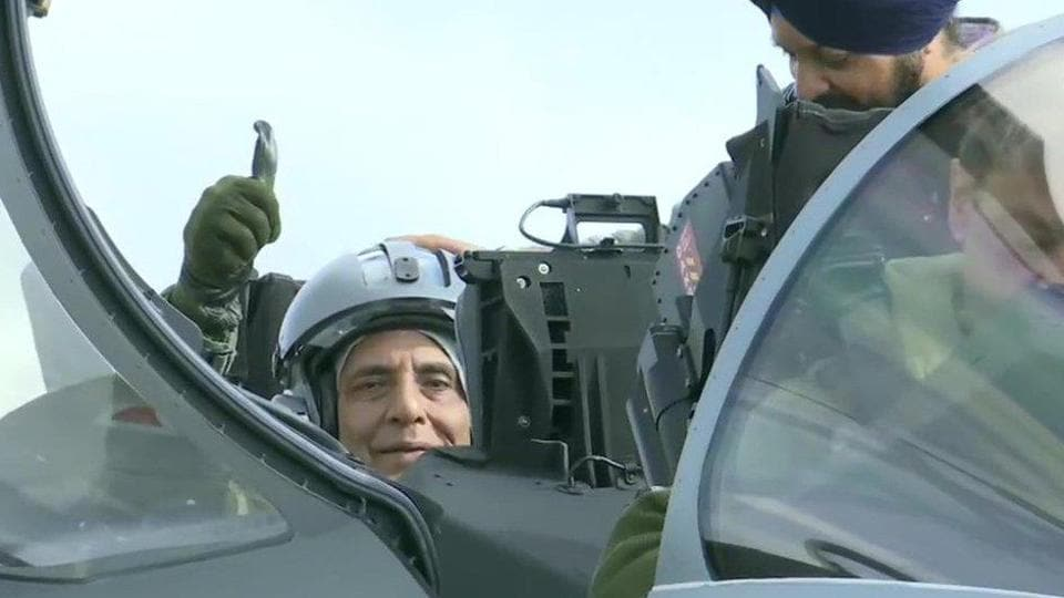 Defence Minister Rajnath Singh on board a Rafale fighter jet in France.