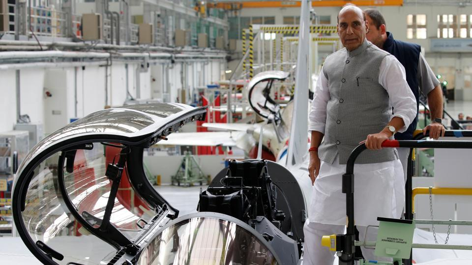 Defence Minister Rajnath Singh visits the assembly line for Indian Air Force Rafale fighter jets before a ceremony at the factory of French aircraft manufacturer Dassault Aviation in Merignac near Bordeaux, France. (Photo: REUTERS)