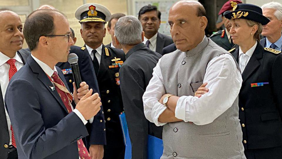 Defence Minister Rajnath Singh during the handover ceremony of the first Rafale combat aircraft in Mérignac on Tuesday. (photo: ani)