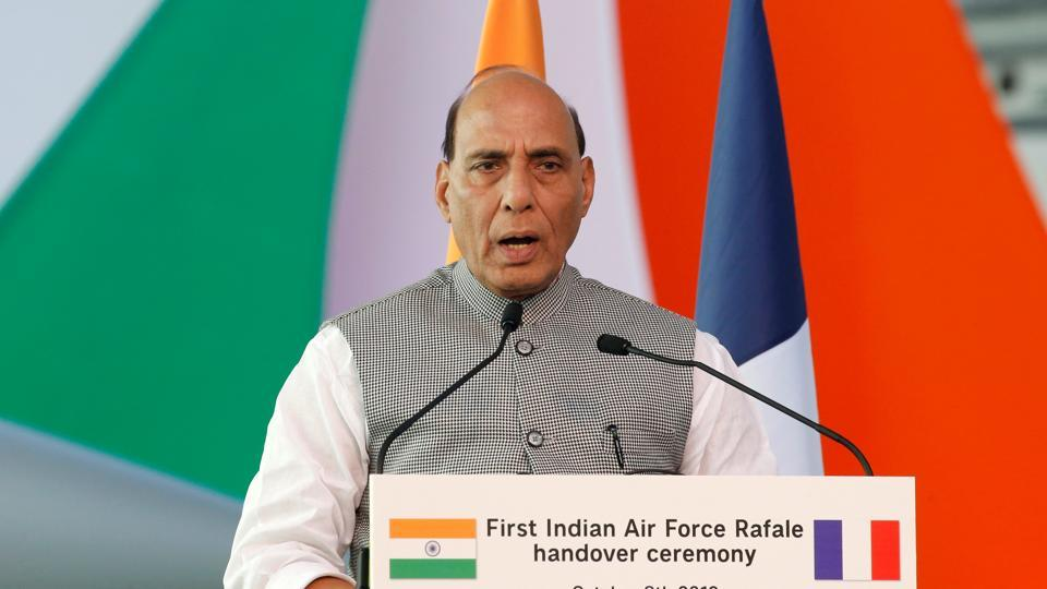 India's Defence Minister Rajnath Singh delivers a speech during a ceremony for the delivery of the first Rafale fighter to the Indian Air Force at the factory of French aircraft manufacturer Dassault Aviation in Merignac near Bordeaux, France. (Photo: REUTERS)