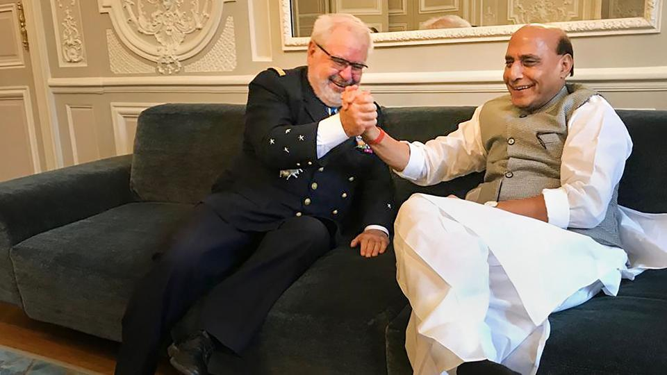 Union Defence Minister Rajnath Singh meets with Defence Advisor to the French President, Admiral Bernard Rogel, in Paris. (Photo: PTI)