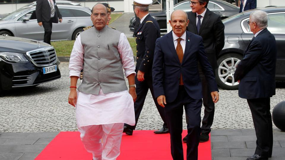 India's Defence Minister Rajnath Singh and Dassault Aviation Chairman and CEO Eric Trappier arrive to visit the assembly line for Indian Air Force Rafale fighter jets before a ceremony at the factory of French aircraft manufacturer Dassault Aviation in Merignac near Bordeaux. (Photo: REUTERS)