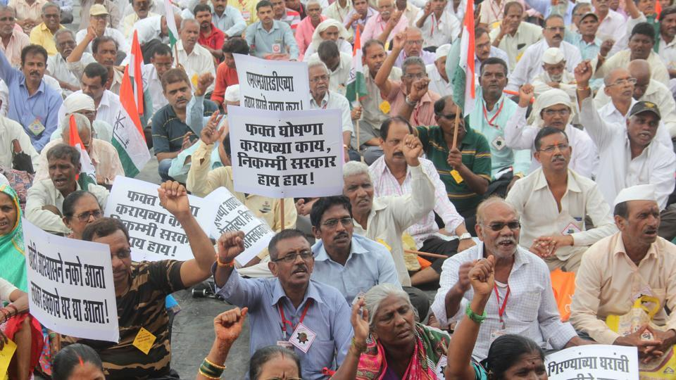 A mill workers' protest, Mumbai, August 28, 2018