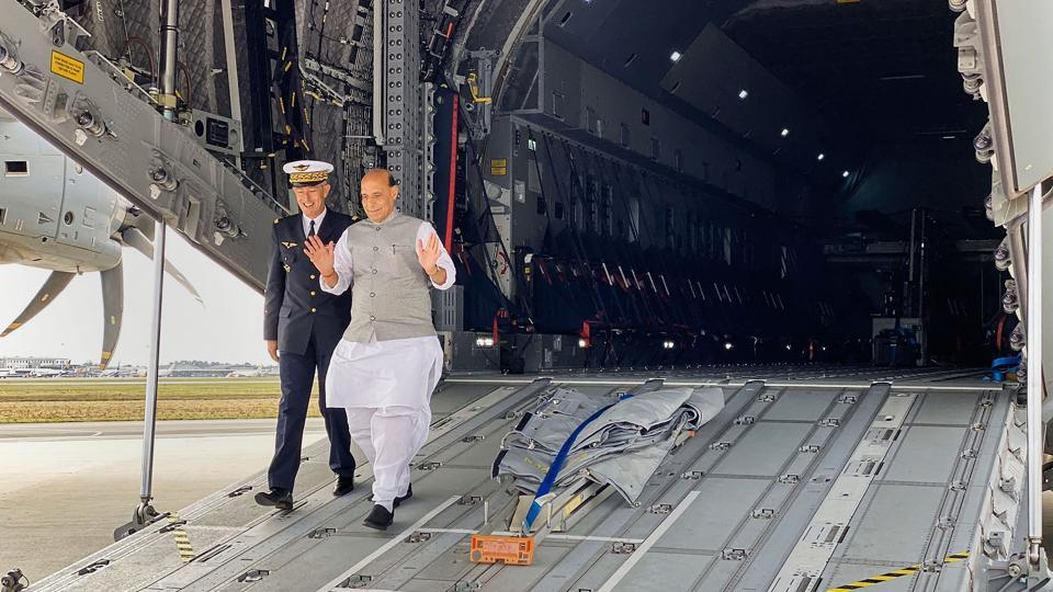 Defense Minister Rajnath Singh on his arrival at Mérignac to attend the induction ceremony of Rafale, in Bordeaux. (Photo: PTI)