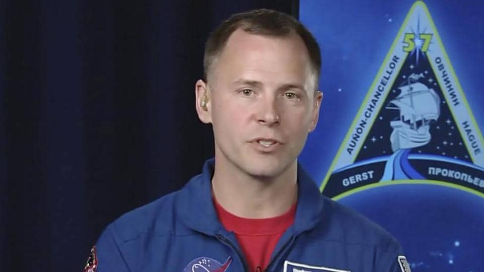 NASA astronaut Nick Hague, who survived the Oct. 11, 2018, failed launch and emergency landing awarded by Russia.