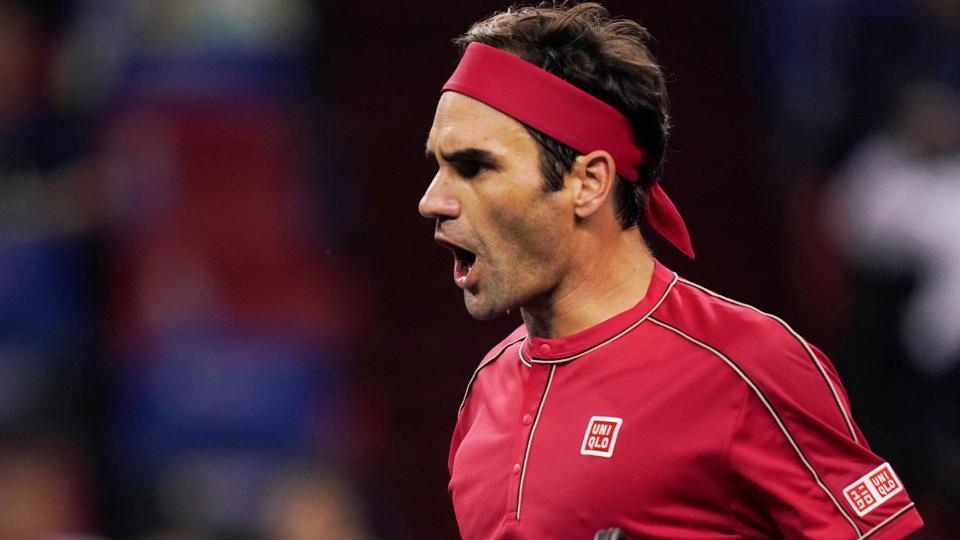 Roger Federer of Switzerland reacts during his match against Spain's Albert Ramos-Vinolas.