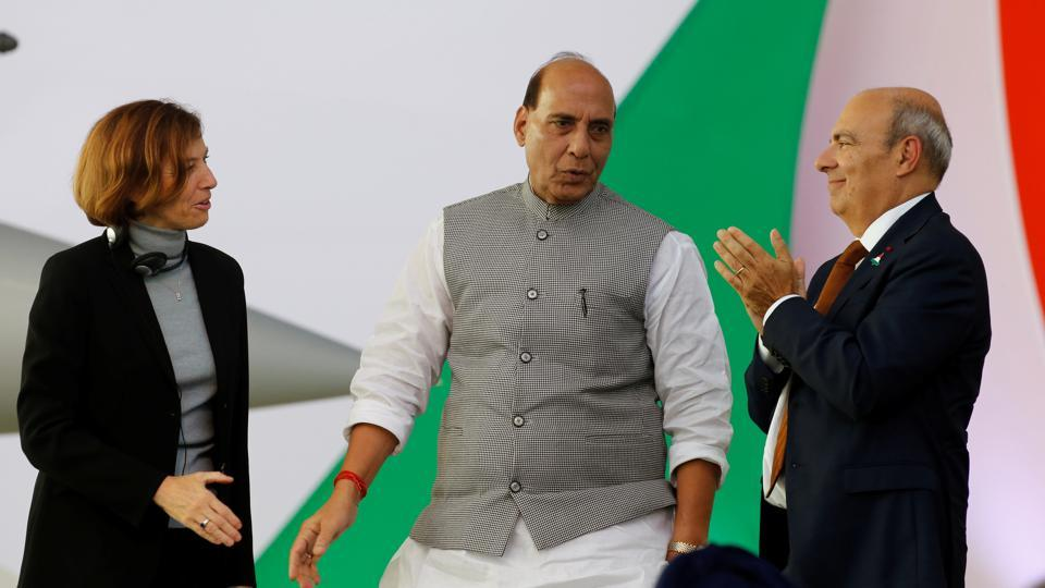 French Defence Minister Florence Parly, India's Defence Minister Rajnath Singh and Eric Trappier, Chairman and CEO of Dassault Aviation, attend a ceremony for the delivery of the first Rafale fighter to the Indian Air Force at the factory of French aircraft manufacturer Dassault Aviation in Merignac near Bordeaux, France. (Photo: REUTERS)