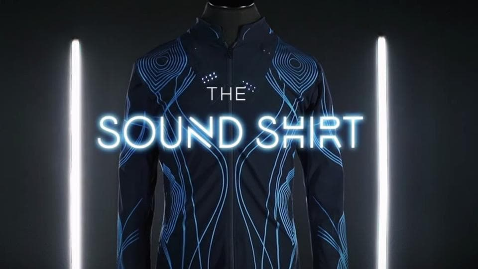 The Sound Shirt, created by London-based fashion company CuteCircuit, has 16 sensors embedded in its fabric, so wearers can feel violins on their arms, for example, while drums beat on their backs.