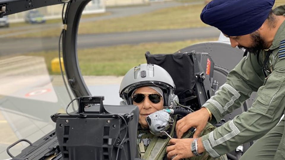 Rajnath Singh changed into combat flight gear for the ride in Rafale combat jet after he had performed a Shastra Puja on the plane at Merignac airport, France, October 8, 2019.