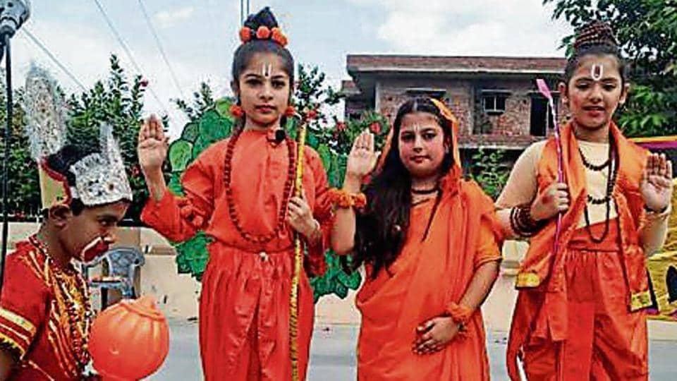 Students sang Raghupati Raghav Raja Ram.
