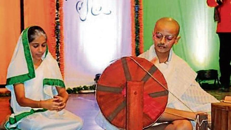 Students enacted the Dandi March episode of Gandhi's life.