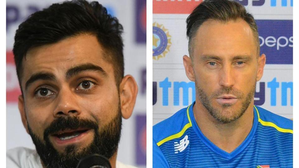 India captain Virat Kohli (L) and South Africa captain Faf du Plessis (R)
