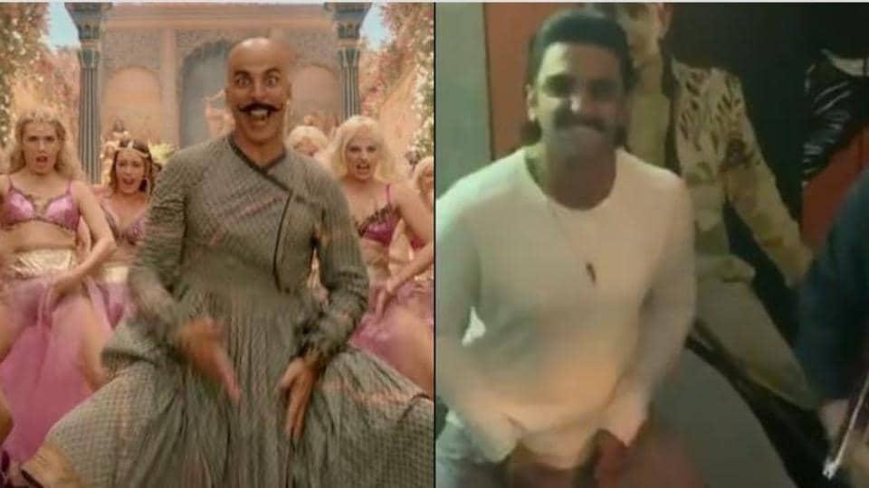 Ranveer Singh attempts Akshay Kumar's trademark step as part of the Bala challenge.