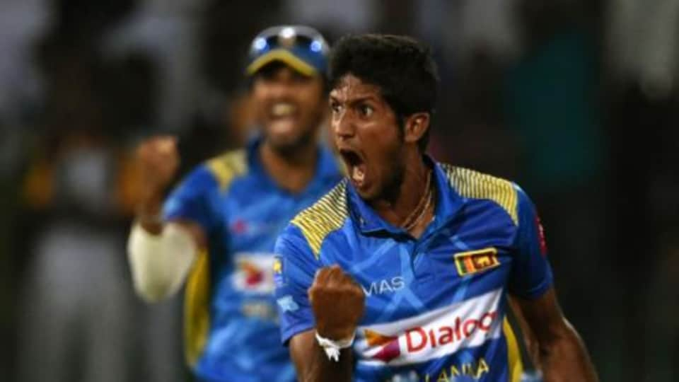 Sri Lankan players celebrate after winning the T20I against Pakistan.
