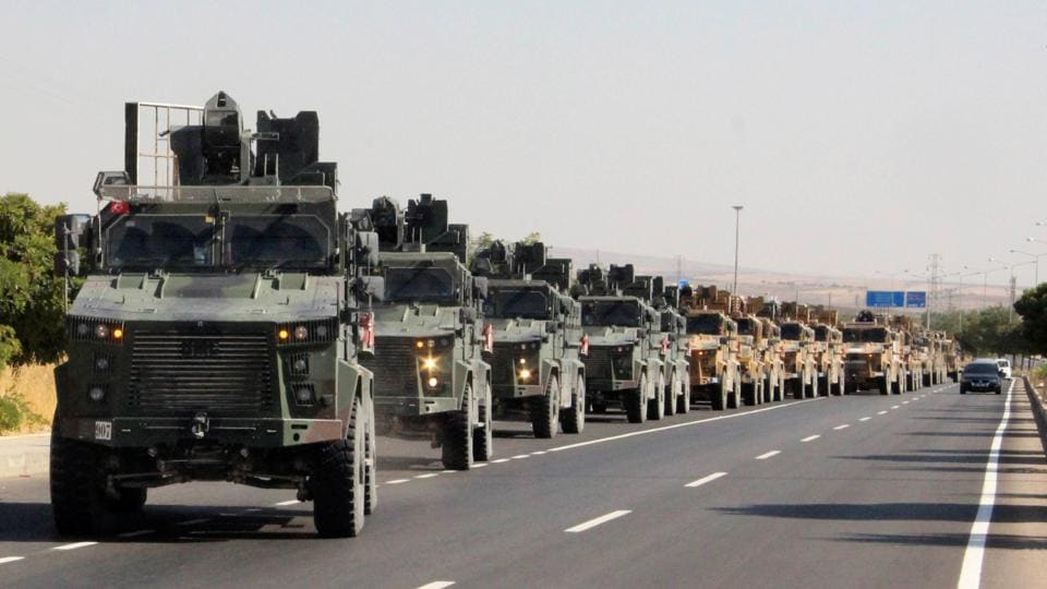 A Turkish military convoy is pictured in Kilis near the Turkish-Syrian border, Turkey, October 9, 2019.