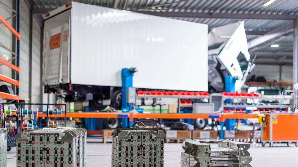 The assembly line at the Emoss plant, a Dutch electric mobility firm.