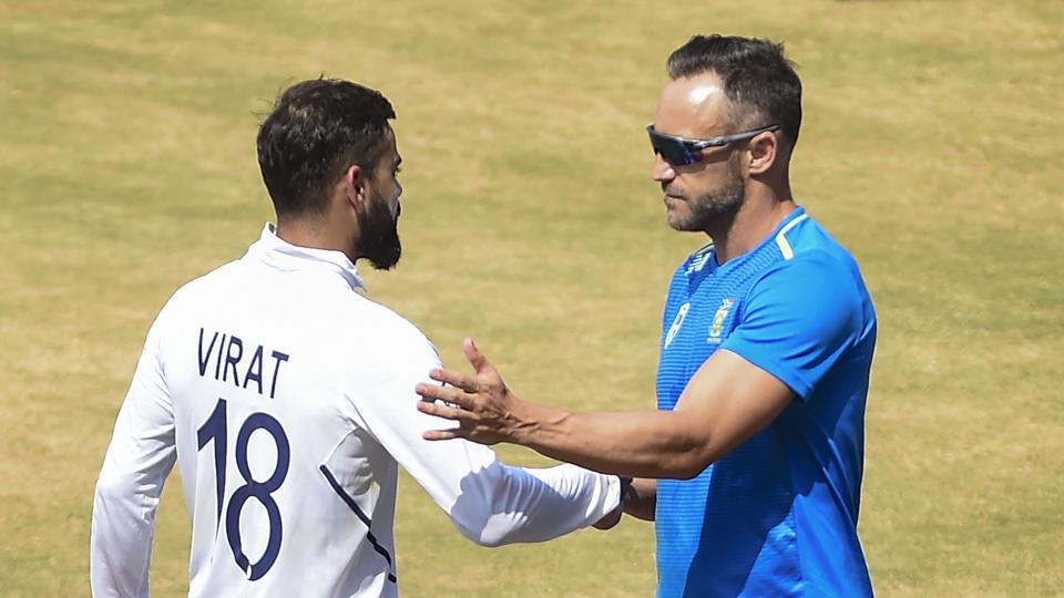 Indian skipper Virat Kohli shakes hands with South Africa captain Faf du Plessis