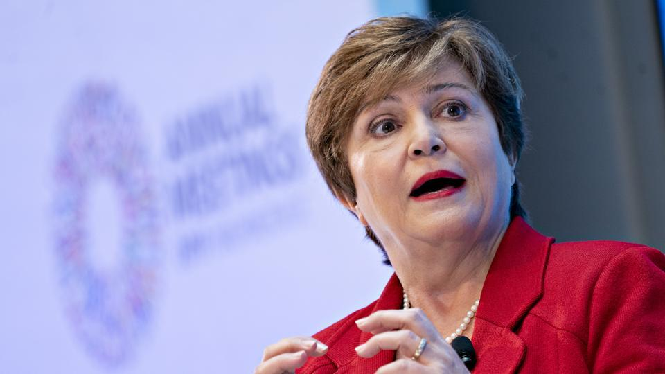 Kristalina Georgieva, managing director of the International Monetary Fund (IMF), speaks during a discussion  in Washington on  October 8.