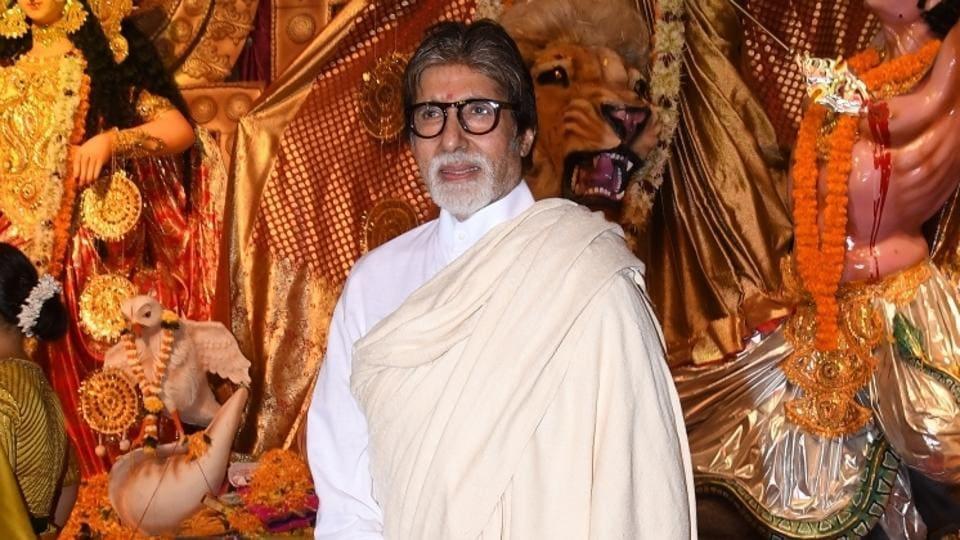 Actor Amitabh Bachchan at a Durga Puja pandal in Juhu, Mumbai.