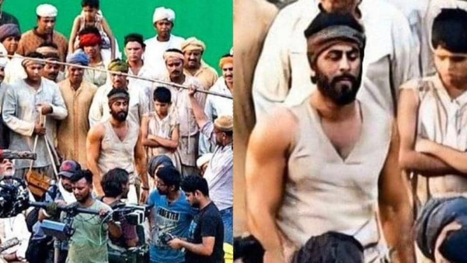 Pictures of Ranbir Kapoor shooting for the film, Shamshera have surfaced online.