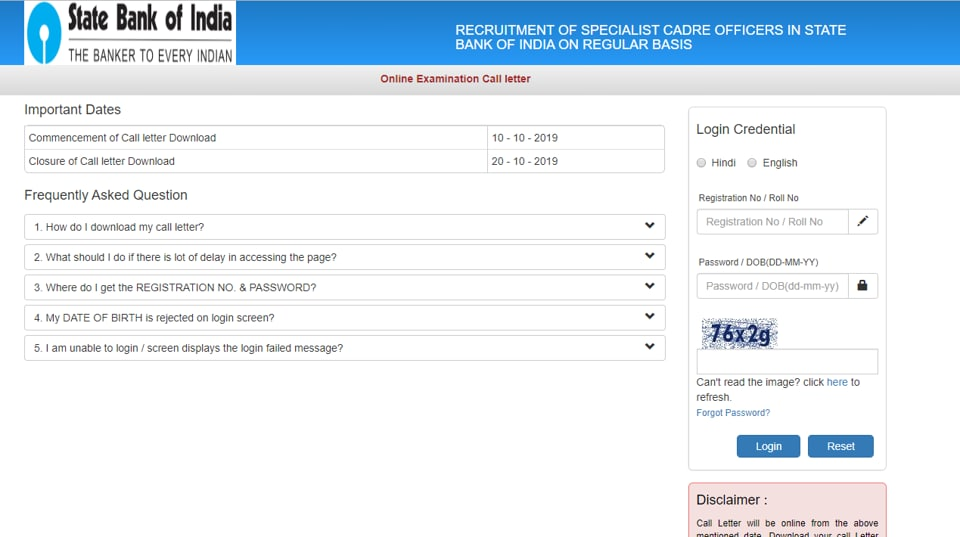 Candidates appearing in the examination can download their admit card online on or before October 20, 2019.  (Screengrab)