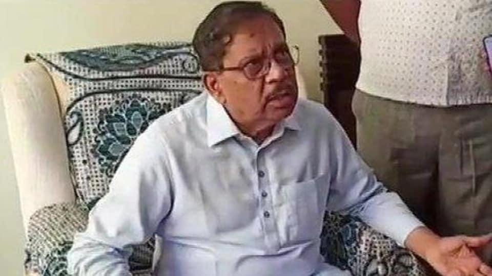 Former Karnataka deputy chief minister G Parameshwara speaks to reporters on Thursday.