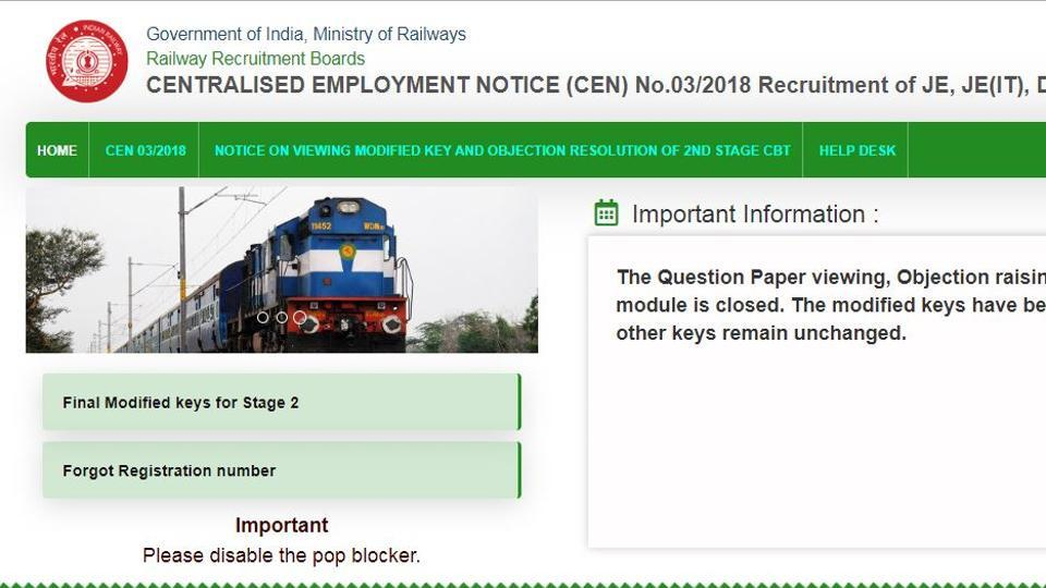 The Railway Recruitment Board has released the final answer key of second stage computer based test (CBT) to recruit junior engineers (JE) (CEN 03/2018).