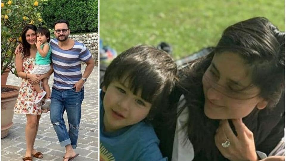 Kareena Kapoor with her son, Taimur Ali Khan and husband Saif Ali Khan.