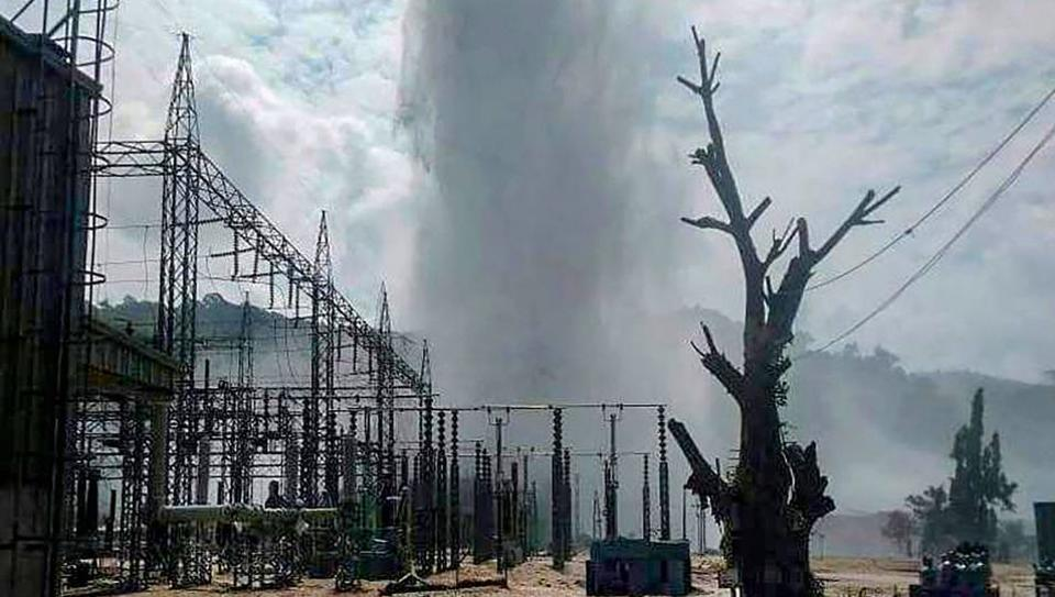 A view of the burst pipeline at the Kopili hydro-power plant in Assam's Dima Hasao district, Wednesday, Oct. 9, 2019.