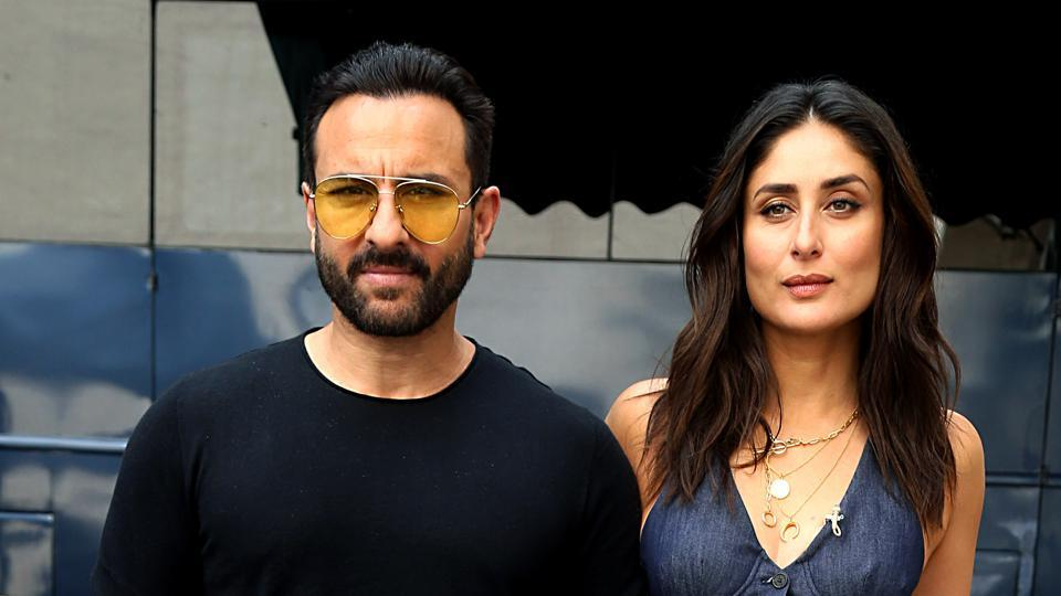 Kareena Kapoor with her husband and actor Saif Ali Khan during the shooting of What Women Want.