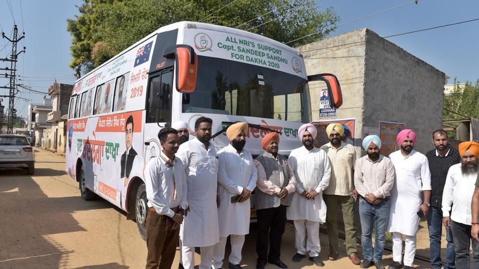 NIR's donating bus to Congress Candidate Sandeep Sandhu for campaigning for bypoll in Dakha in Constituency, Ludhiana on Thursday.
