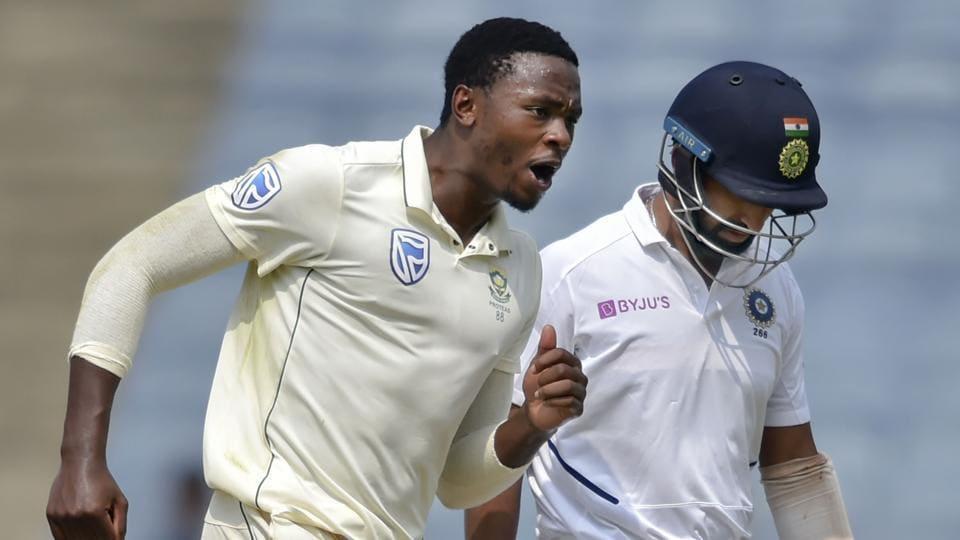 Pune: South Africa cricket team player Kagiso Rabada celebrates the dismissal of Cheteshwar Pujara.
