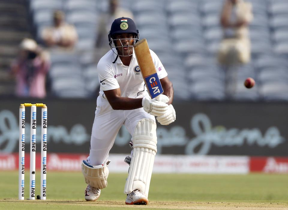 India's Mayank Agarwal bats during the second cricket test match between India and South Africa in Pune. (AP)