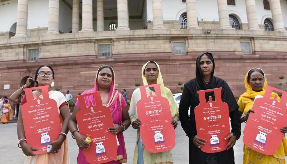 Beneficiaries under the Pradhan Mantri Ujjwala Yojana at Parliament house, New Delhi, August 3, 2018