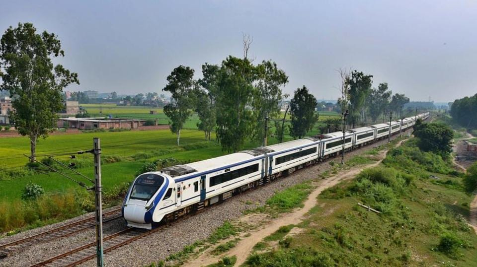 Sri Vaishno Devi Katra Vande Bharat Express train passing from Ludhiana, towards Katra.