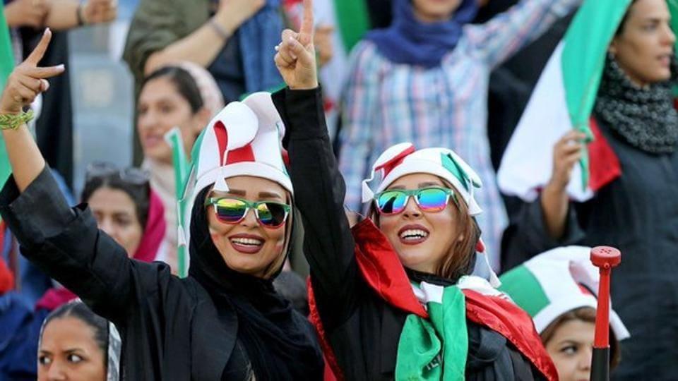 Iran Women celebrate football match.
