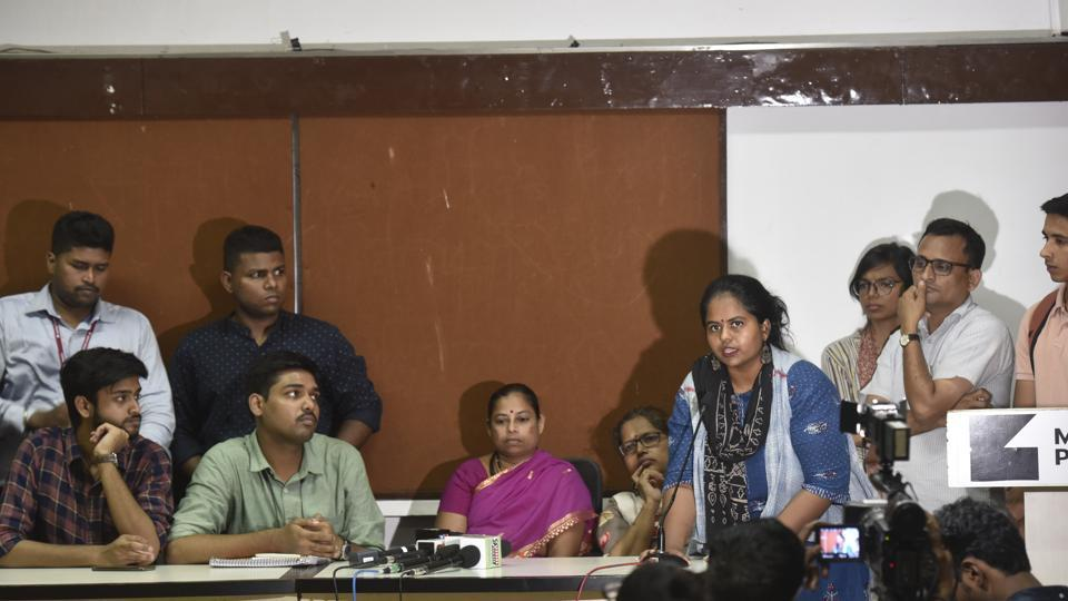A press conference was held by citizens arrested for protesting against tree-felling in Aarey Colony,  Mumbai, October 11, 2019.