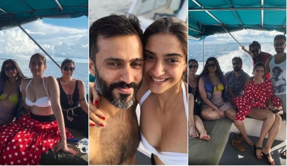 Sonam Kapoor with sister Rhea Kapoor and husband Anand Ahuja during their Maldives vacation.