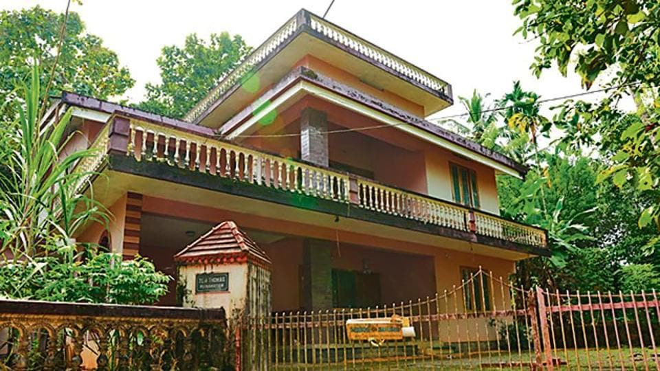 A view of the Ponnamattam house of late of Tom Thomas in Koodathayi near Kozhikkode where all six deaths took place. Police later sealed the house.