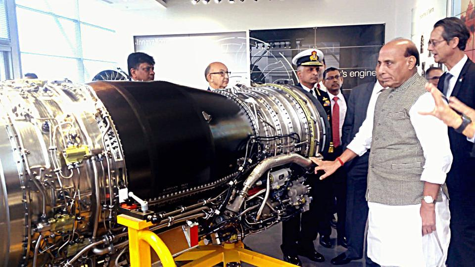 Defence Minister Rajnath Singh at a Safran facility in Villaroche, France,  on October 9, 2019. Safran manufactures the engine of the Rafale combat jets