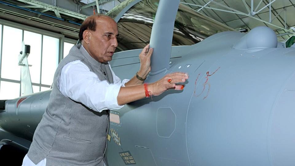 Defence Minister Rajnath Singh performed a Shastra Puja on Rafale combat aircraft.