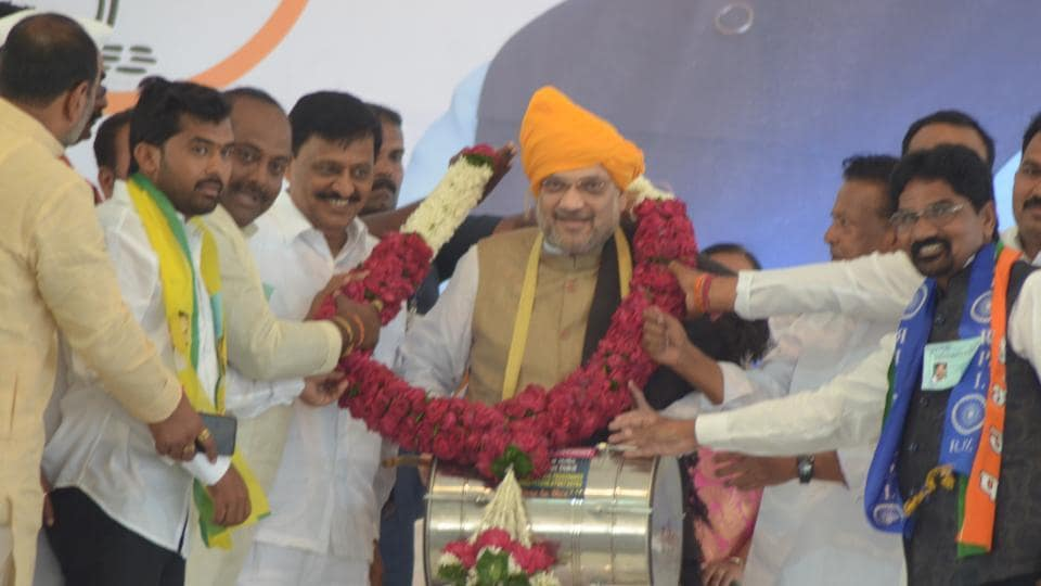Amit Shah in Sangli during a BJP rally on Thursday.