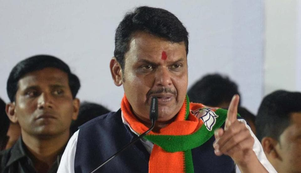 Maharashtra chief minister  Devendra Fadnavis at the election rally of BJP candidate for Chinchwad assembly constituency in Pune,  on Thursday,October,10, 2019.