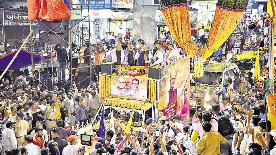 Maharashtra chief minister Devendra Fadnavis during a roadshow in Bhosari on Thursday.