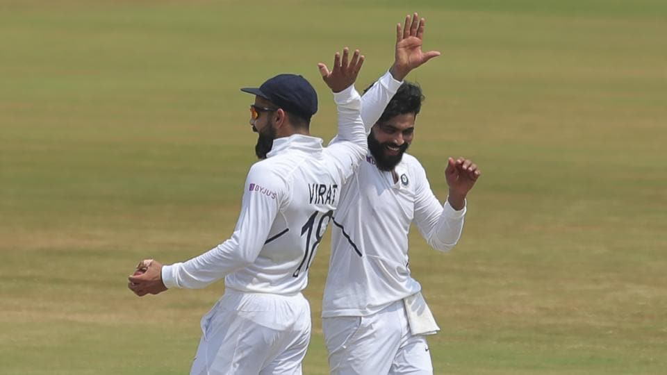 Ravindra Jadeja celebrates with captain Virat Kohli during fifth day of first Test against South Africa in Visakhapatnam.